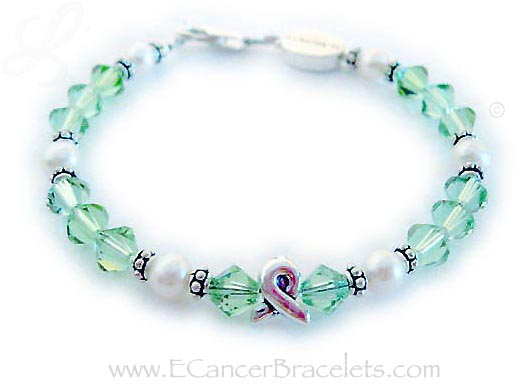 Lymphoma Ribbon Bracelet with Ribbon Charm
