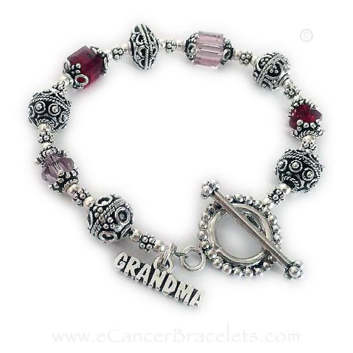 Migraine and Headache Awareness Red Ribbon Bracelet for Grandma Bali Awareness Bracelet with a Grandma Charm.