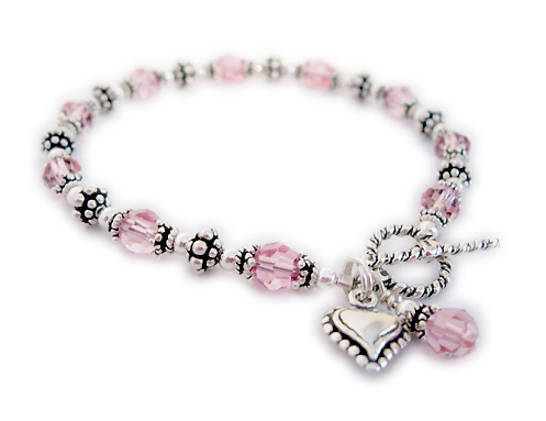 Beast Cancer Awareness Heart Bracelet with Heart Charm and Pink Crystal Dangle - CBB-R53