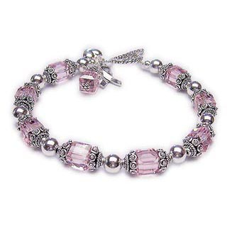 Large Pink Breast Cancer Bracelet with 8mm square Swarovski crytals a puffed heart charm, ribbon charm and pink charm. CBB-R34