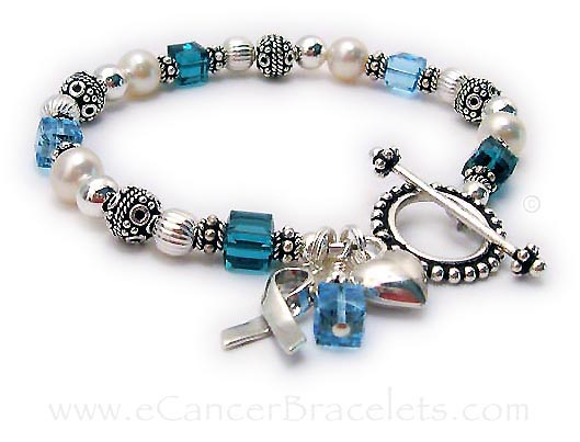 Cancer ribbon bracelet with ovarian, cervical and uterine cancer bracelets. CBB-R25