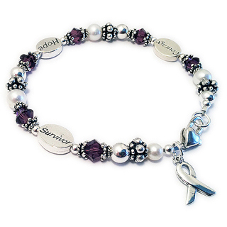 Courage Hope Survivor Bracelet with Ribbon Charm. CBB-R54