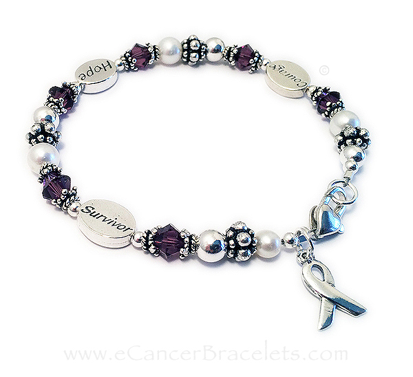 Courage Hope Survivor Bracelet with Ribbon Charm. They added a Heart Lobster Claw clasp. CBB-R54