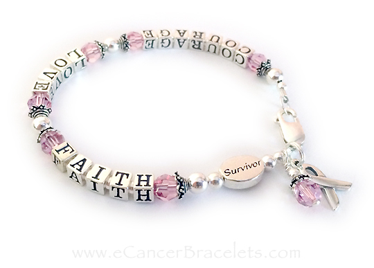Courage Love Faith Breast Cancer Survivor Bracelet