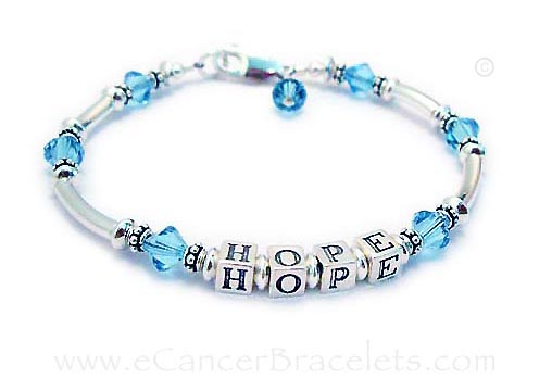 Hope Message Bracelet for Prostate Cancer - Light Blue Ribbon Bracelet