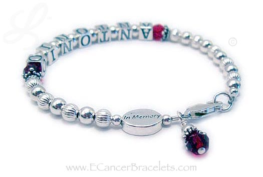 In Memory Bracelet with sterling silver in Memory bead and Birthstone Crystal Dangle
