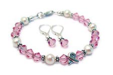 Simple Pink Breast Cancer Ribbon Charm Bracelet