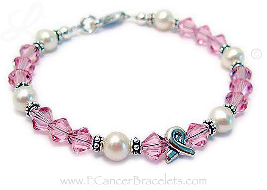 Breast Cancer Charm Bracelet with Ribbon