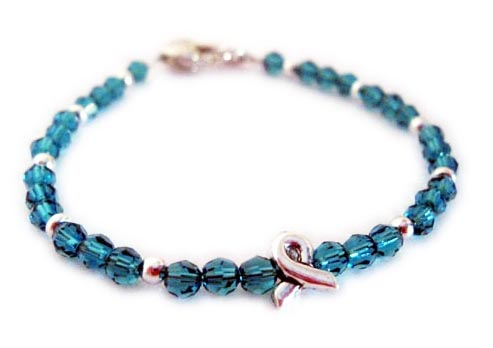 Teal Ribbon Bracelet for Ovarian Cancer Survivors