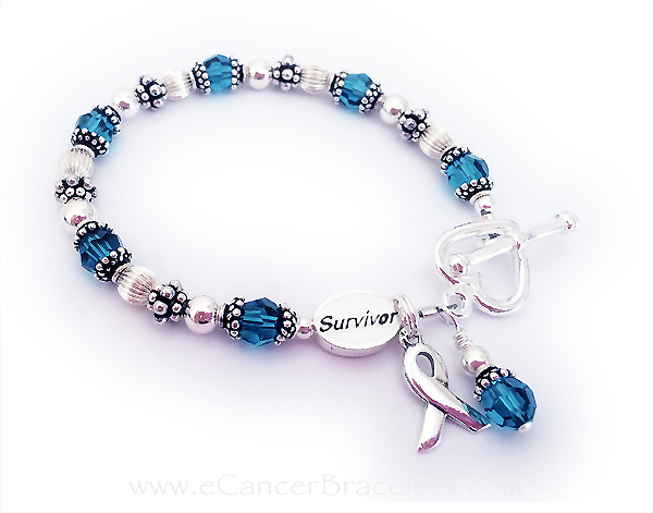 Teal Ribbon Bracelet with a Survivor bead and ribbon charm or an Polycystic Ovarian Cancer Survivor