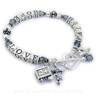 Brain Cancer Awareness Jewelry with a heart toggle clasp, angle charm, prayer box charm, ribbon charm and crystal dangle - CBB-R23