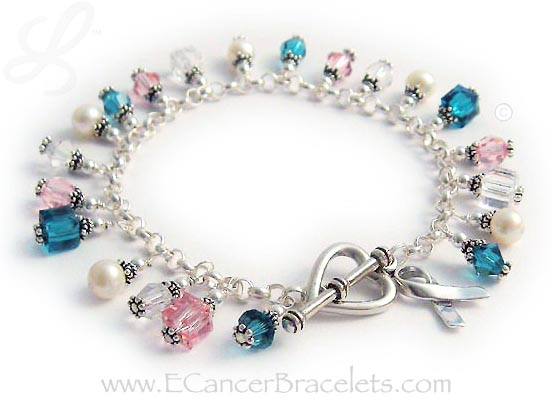 Teal Pink Clear Cancer Bracelet