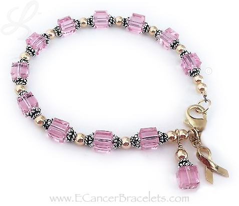 Breast Cancer Pink Ribbon Bracelet with gold beads and gold ribbon charm.