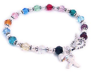 All Cancer Colors Bracelet  with a ribbon charm.