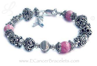 Sterling Silver Bali style and Pink Rhodochrosite Breast Cancer Awareness Bracelet