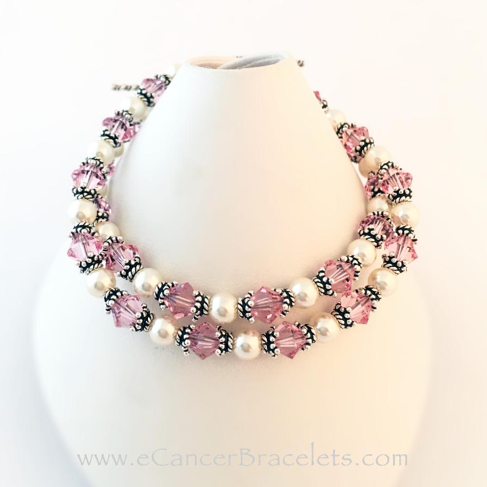 2 Breast Cancer Pink Ribbon Bracelets