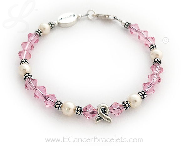 Breast Cancer Bracelets with Pearls and Pink Crystals - Includes Ribbon Bead - CBB-R48