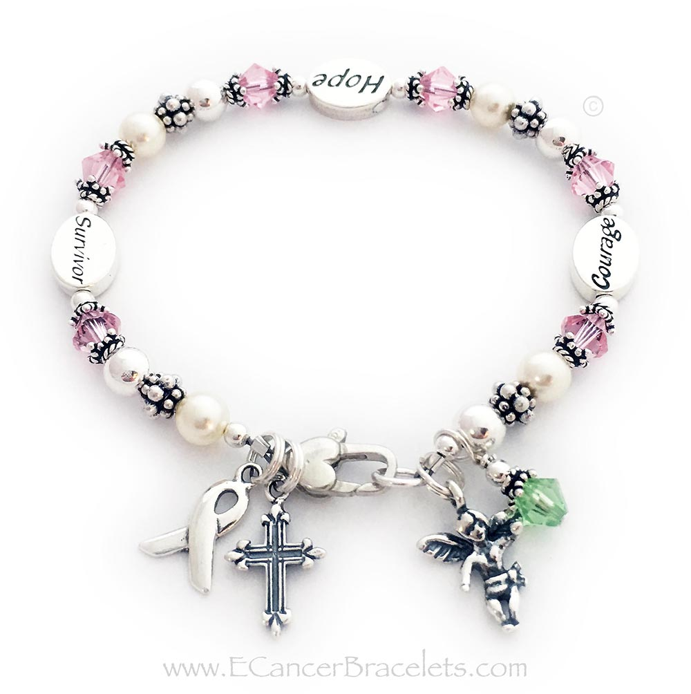 This Pink Ribbon Bracelet comes with 3 message beads: Courage, Hope and Survivor. They upgraded from the free lobster claw clasp to the Heart Lobster Claw Clasp. The bracelet comes with a Ribbon Charm and they added 3 additional charms: Fancy Cross Charm, Angel with Wings Charm and Peridot Birthstone Crystal Dangle Charm.