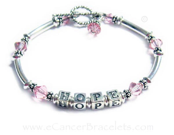 HOPE Pink Breast Cancer Ribbon Bracelet R37