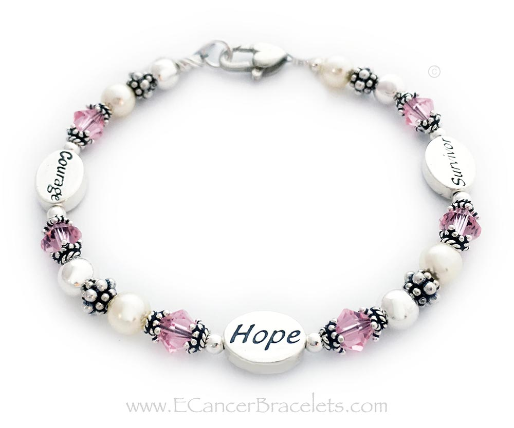 This Pink Ribbon Bracelet is shown with 3 message beads: Courage, Hope and Survivor. They upgraded from the free lobster claw clasp to the Heart Lobster Claw Clasp. The bracelet comes with a Ribbon Charm but if you would prefer no charms, just let me know.