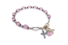Gold Courage and Sterling Silver Pink Swarovksi crystal Ribbon Bracelet