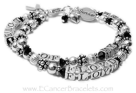 Love of my Life 2 string bracelet with Survivor bead and heart charm - CBB-R24-2string