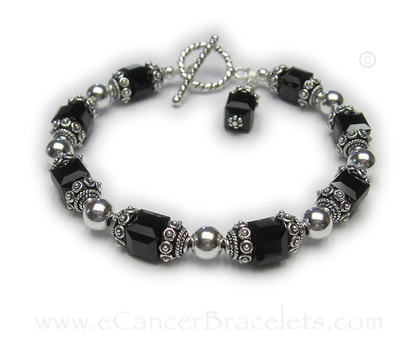Melanoma Awareness Bracelet (Black Crystals) Bracelet size 8 1/2' - Sterling Silver Ribbon Charm and Crystal Dangle are included in the price.
