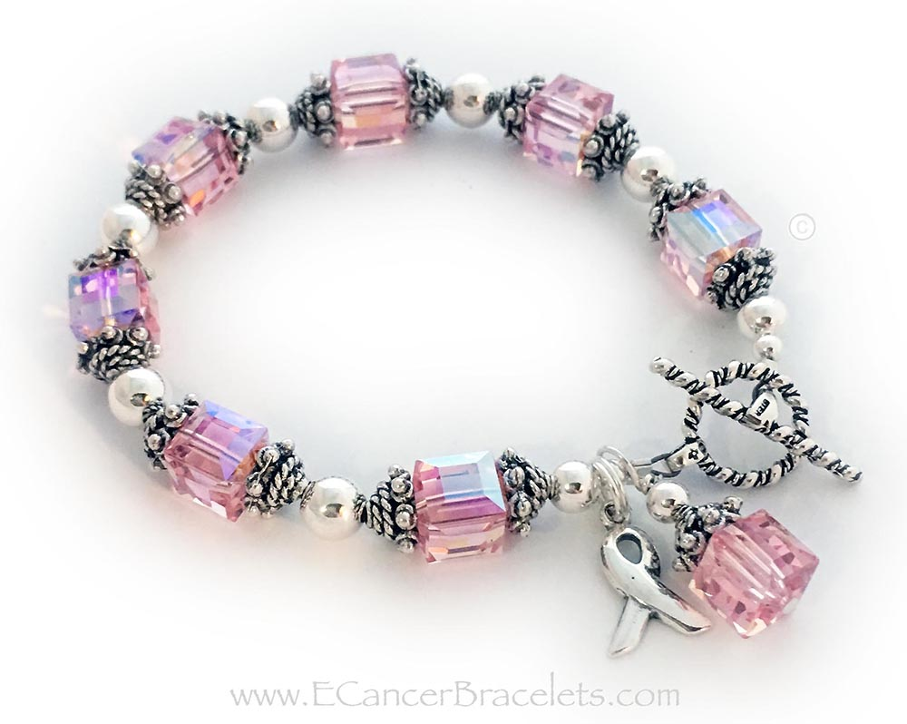 Large Light Pink Crystal Ribbon Braceleet with a Ribbon Charm and Pink Charm - CBB-R34