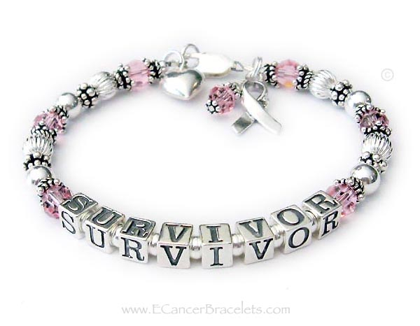 SURVIVOR Bracelet with pink crystals