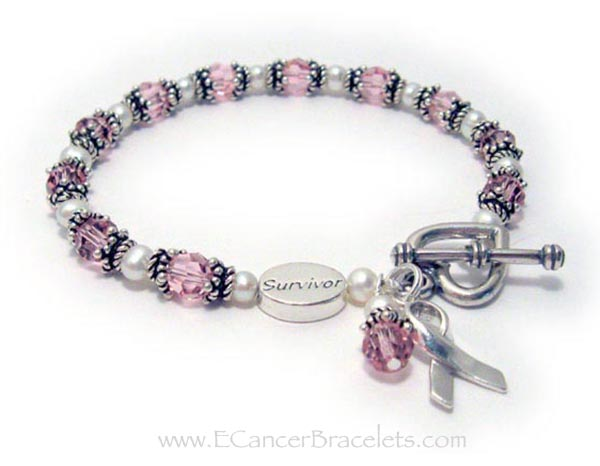 Survivor Pink Breast Cancer Ribbon Bracelet R31