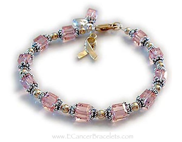 Gold Pink Breast Cancer Ribbon Bracelet R29