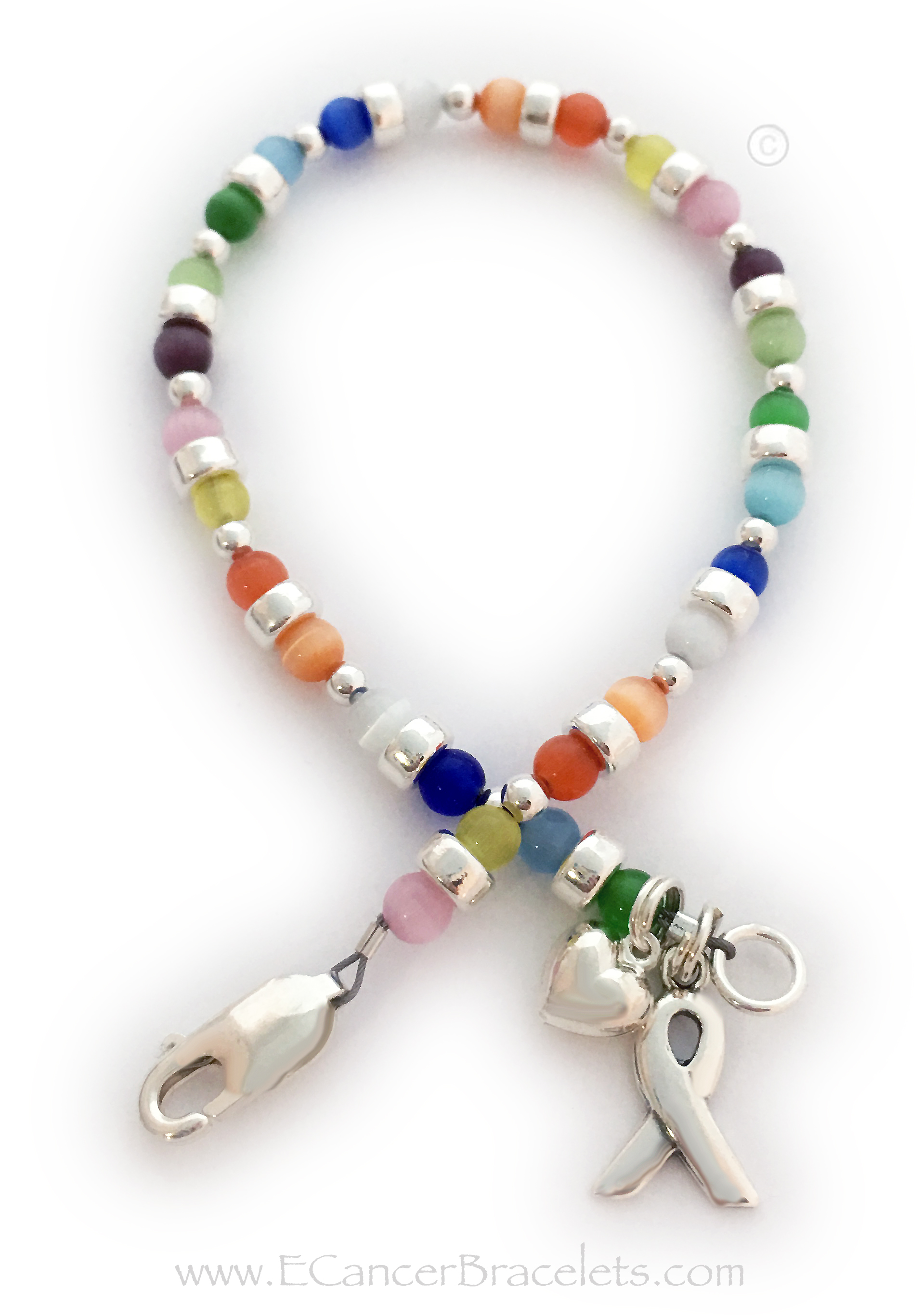 This all cancer colors bracelett is shown with COLORFUL Cat's Eye Cancer colors and it includes the ribbon charm. They picked a sterling silver Lobster Claw Clasp. The Heart charm shown is optional.