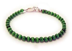 Green Donor Bracelet with Green Cats Eye Beads