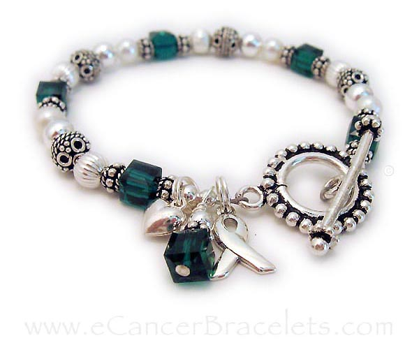 Liver Cancer and Organ Donor Bracelet - Green Ribbon Bracelet   Shown with an upgraded Beaded Toggle Clasp and an Add-On Small Puffed Heart Charm