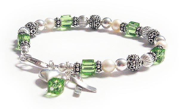 Lymphoma Bracelet with Heart and Ribbon Charm and Green Crystals - CBB-R25