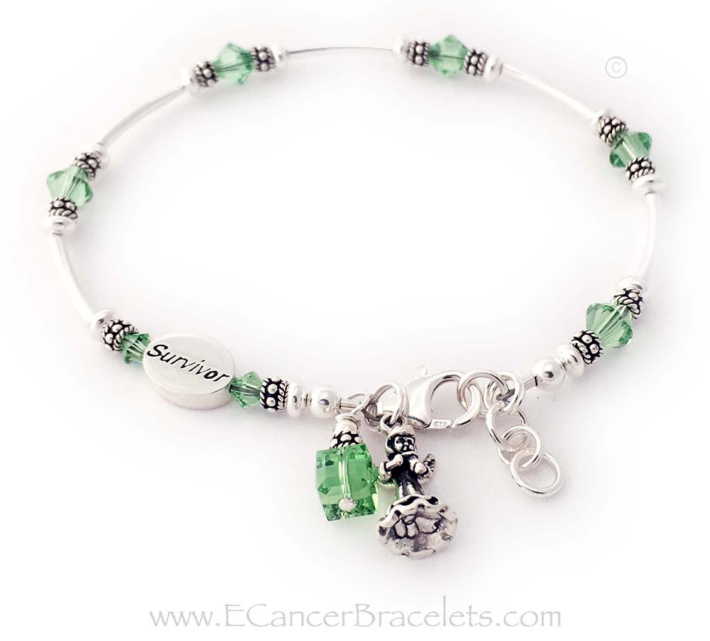 CBB- Ribbon37  Lymphoma Survivor Bracelet with Light Green Crystals and a Ribbon Charm. *Special Order* They switched out the ribbon charm for one of my Angel charms and added a SURVIVOR bead and an Extension Clasp.