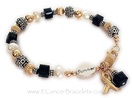 Black Melanoma Bracelet for Cancer Awareness - Survivor Bracelet