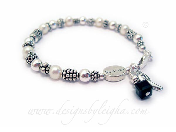 Melanoma Survivor Bracelet with a Survivor bead and ribbon charm and black crystals