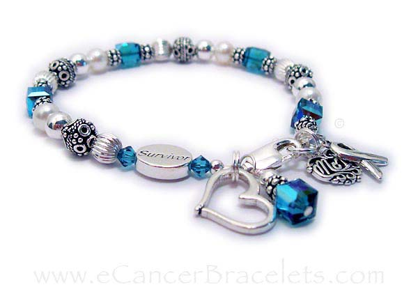 CBB-R25-InMemMom  This bracelet includes the Survivor bead (Hope Courage or In Memory bead options), MOM charm, Ribbon Charm and your choice of color for the beads and Dangle Charm. They added an Open Heart Charm to their order.
