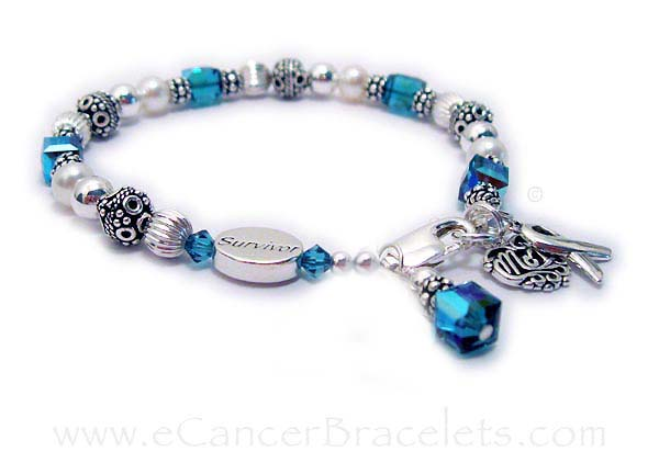 MOM SURVIVOR bracelet Teal Ribbon, Ovarian Cancer, Uterine Cancers