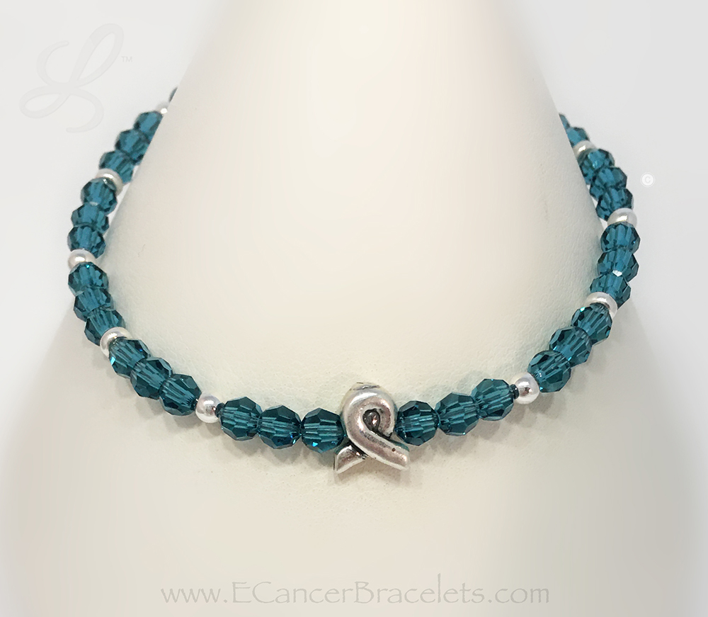 Teal Ribbon Bracelet with a Survivor, Hope, Courage or In Memory Bead - Sterling Silver & Swarovski Crystals