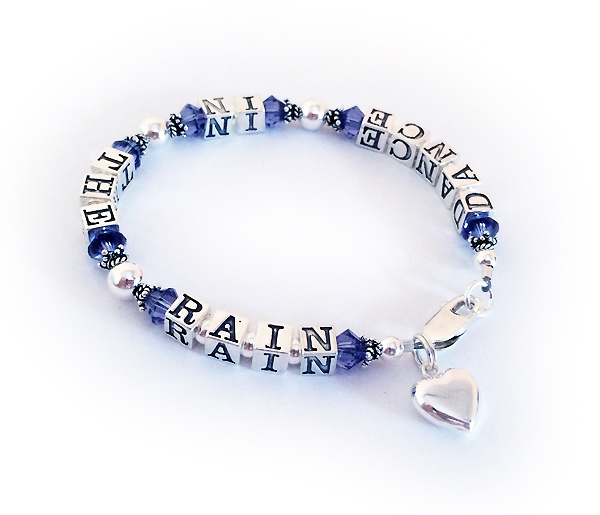 Purple Ribbon Dance in the rain bracelet