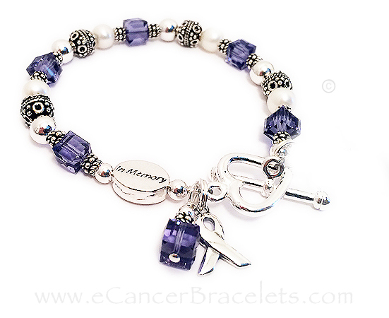 Purple Ribbon Bracelet with an In Memory Bead and an Angel CharmCBB-R25