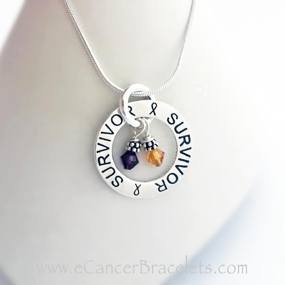 This Survivor Survivor Necklace is shown with 2 Cancer Awareness Charms: Purple and Orange for Pancreatic and Leukemia Awareness