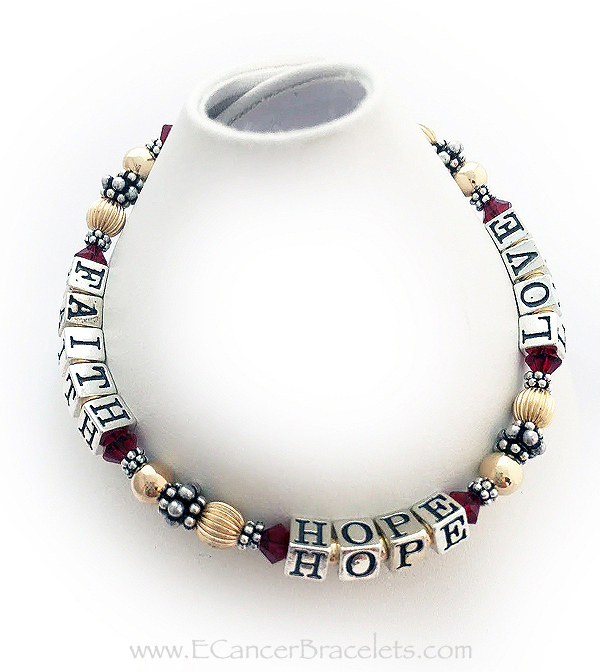 Red Gold Faith Hope and Love Ribbon Bracelet - CBB-R21