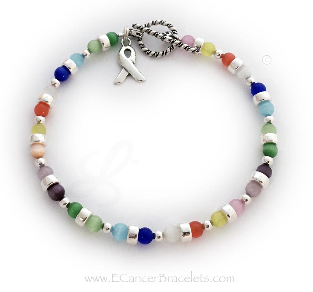 CBB-R43  This all cancer colors bracelet is shown with COLORFUL Cat's Eye Cancer colors and it includes the Ribbon Ccharm. They picked a sterling silver Twisted Toggle Clasp.
