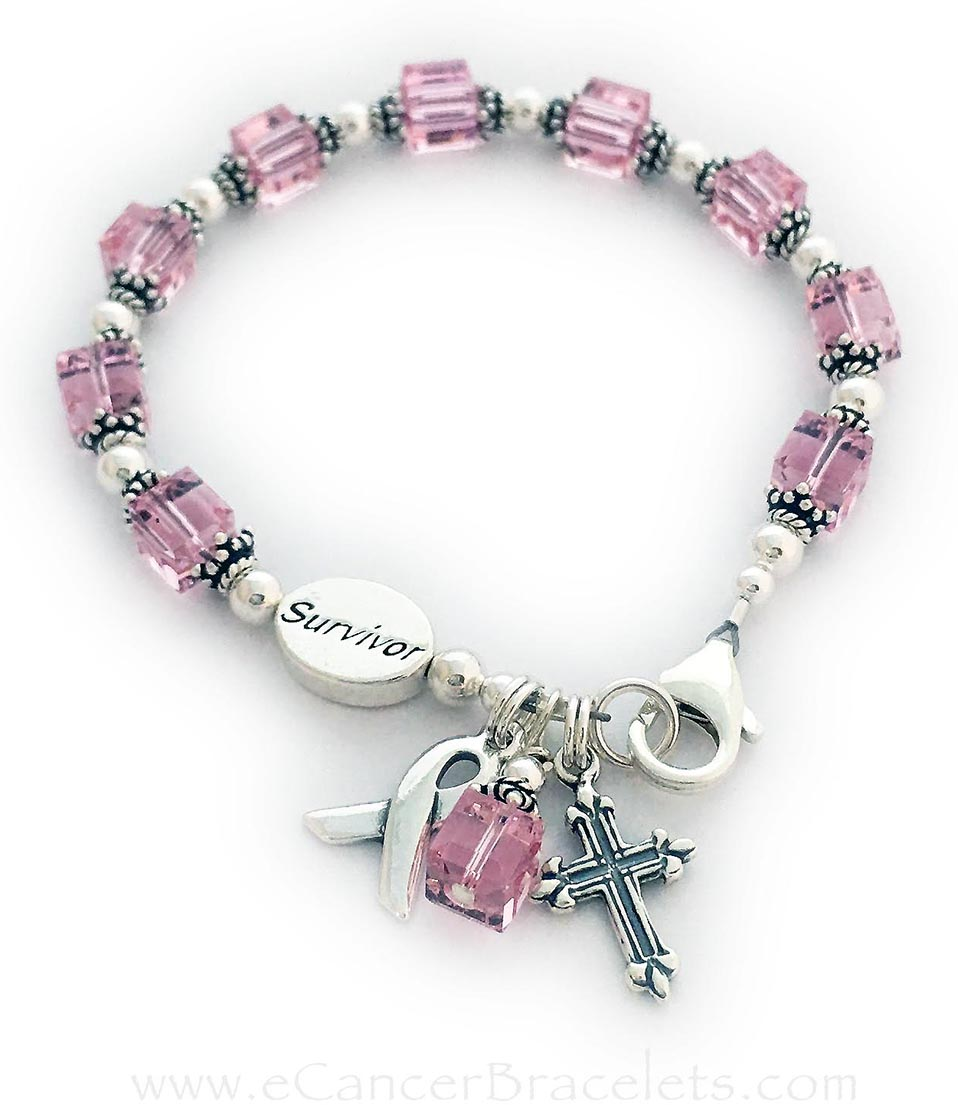 CBB-R28 (above) PINK or OCTOBER -This bracelet comes with 2 charms;  ribbon and dangle/charm. Shown with a lobster claw clasp. They added 2 things to thier order: SURVIVOR bead and a Fancy Cross charm.