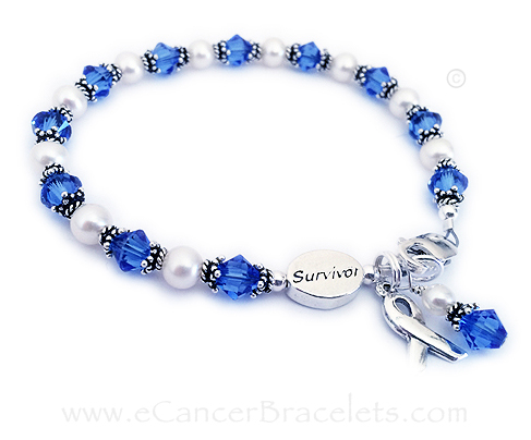 Colon Cancer Survivor Bracelet Witha A Bead Blue Crystals And Ribbon Charm