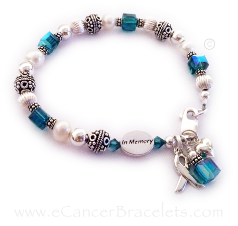 In Memory Teal Ribbon Bracelet with Heart Charm - Uterine Cancer Awareness ribbon Bracelet