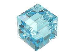 Aquamarine or March Swarovksi Crystal  Cube or Square